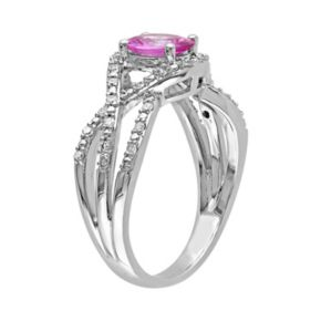 Stella Grace Pink Sapphire & 1/6 Carat T.W. Diamond 10k White Gold Openwork Twist Ring