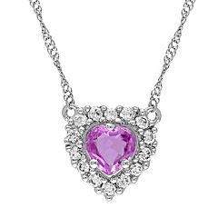 Pink & White Sapphire 14k White Gold Halo Heart Necklace