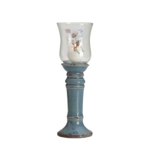 Elements 15-in. Blue Floral Hurricane Candleholder