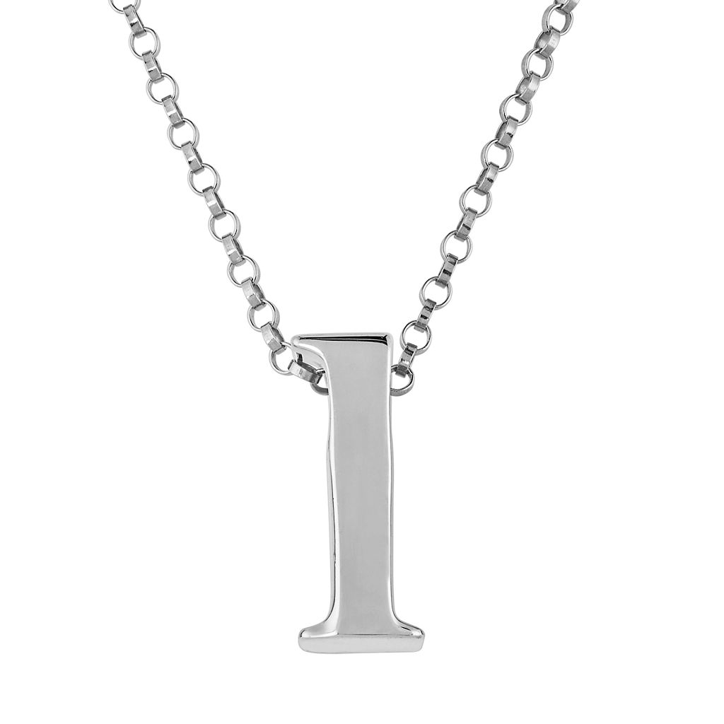 Sweet Sentiments Sterling Silver Initial Charm Pendant Necklace