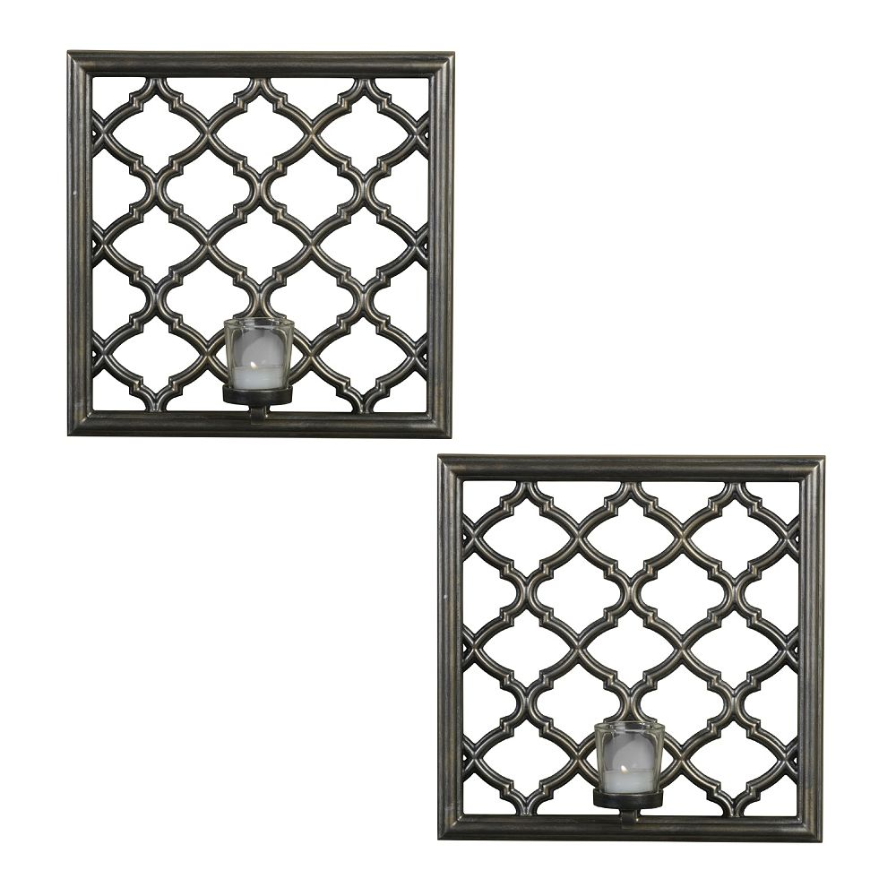 2 piece lattice candle wall sconce set elements 2 piece lattice candle wall sconce set amipublicfo Gallery