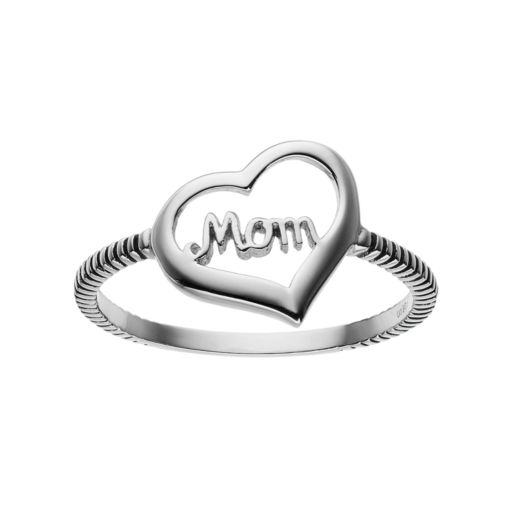 "Sterling Silver ""Mom"" Heart Ring"