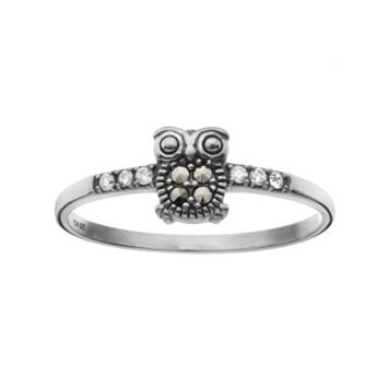 Marcasite Sterling Silver Owl Ring