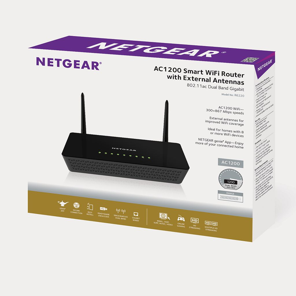 NETGEAR AC1200 Smart WiFi Dual-Band Wireless Router with External Antenna