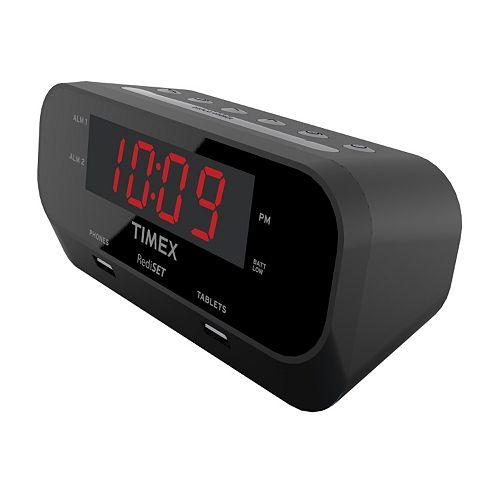 Timex® RediSet Dual Alarm Clock with Dual USB Charging