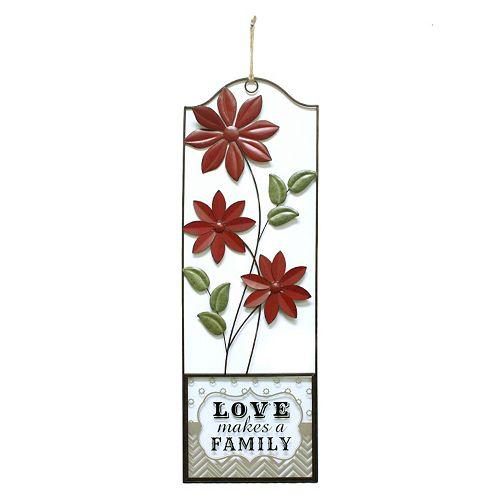 "Fetco Home Decor ""Love Makes A Family"" Floral Panel Wall Decor"