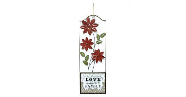 "Fetco Home Decor ""Love Makes A Family"" Floral Panel Wall Decor"