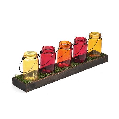 Pfaltzgraff Mason Jar & Faux Grass Tealight Candle Holder