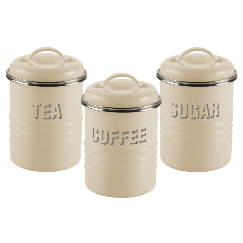 vintage kitchen 3 pc stainless steel canister set