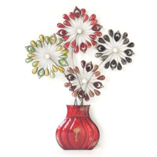 Embellished Flowers In A Vase Wall Decor