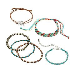 Mudd® Elephant & Bead Braided Slipknot & Stretch Bracelet Set