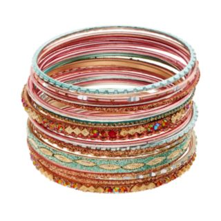 Mudd® Textured & Glittery Bangle Bracelet Set