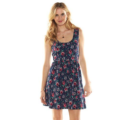 LC Lauren Conrad Print Crisscross-Back Dress - Women's