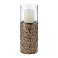 Elements Crackle Ceramic Hurricane Candle Holder