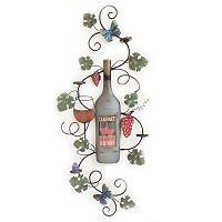 Wine Bottle & Leaves Wall Decor