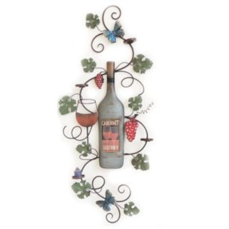 Wine Bottle & Leaves Wall Decor