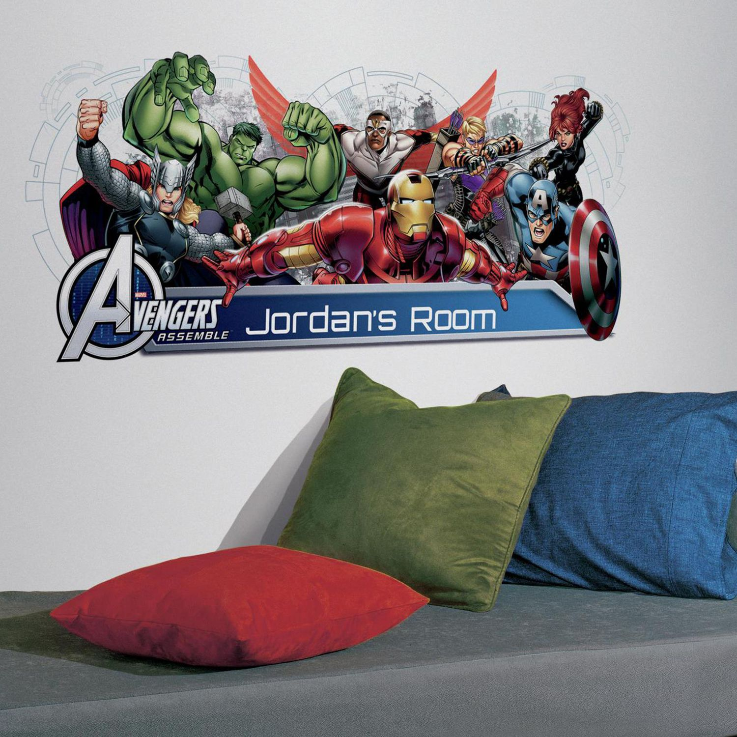Marvel Avengers Assemble Personalized Headboard Peel U0026 Stick Wall Decals