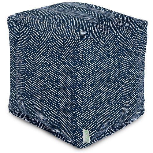 Majestic Home Goods Herringbone Indoor Outdoor Small Cube Ottoman