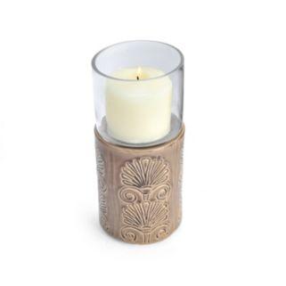Elements Embossed Crackle Hurricane Candle Holder