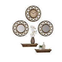 Elements 5-piece Gold Wall Clock, Mirror & Shelf Set