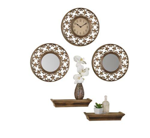 Elements 5-piece Gold Wall Clock, Mirror & Shelf Set