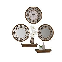 Elements 5-piece Curl Wall Clock, Mirror & Shelf Set