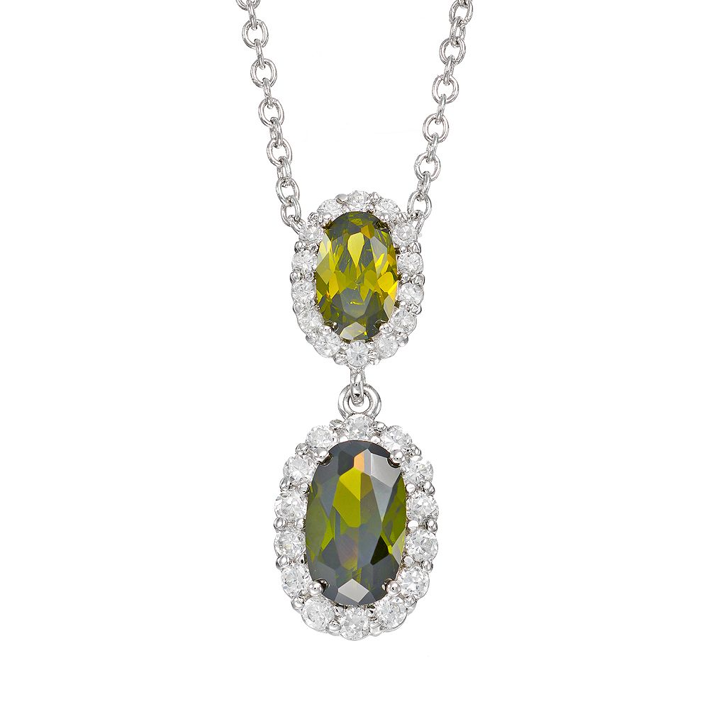 Sophie Miller Cubic Zirconia Sterling Silver Oval Halo Pendant Necklace