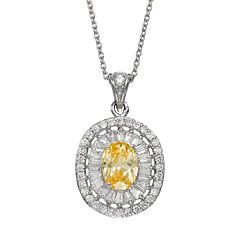 Sophie Miller Cubic Zirconia Sterling Silver Oval Pendant Necklace