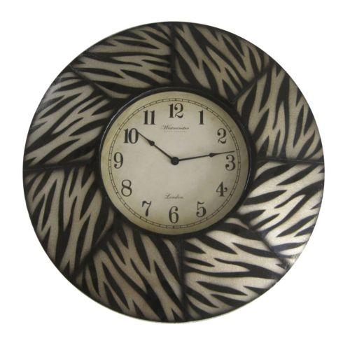 Zebra Paneled Wall Clock