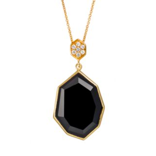 Sophie Miller Onyx & Cubic Zirconia 14k Gold Over Silver Pendant Necklace