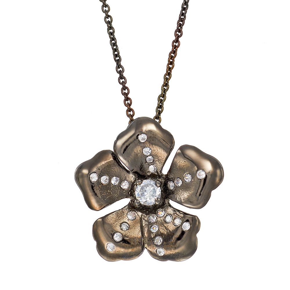 Sophie Miller Cubic Zirconia Black Rhodium-Plated Sterling Silver Flower Pendant Necklace