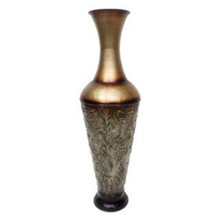 Scroll Trellis Metal Trumpet Table Vase