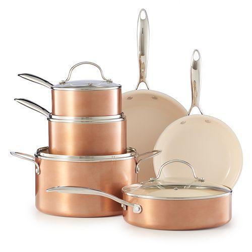Food Network 10 Pc Nonstick Ceramic Copper Cookware Set
