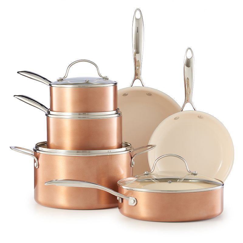 Food Network™ 10-pc. Nonstick Ceramic Copper Cookware Set, Red/Coppr