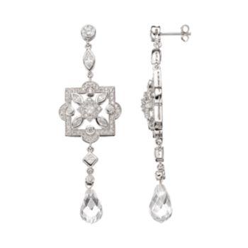 Sophie Miller Cubic Zirconia Sterling Silver Drop Earrings