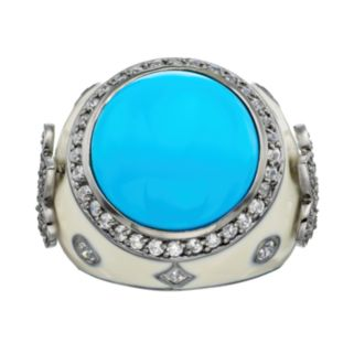 Sophie Miller Simulated Turquoise & Cubic Zirconia Black Rhodium-Plated Sterling Silver Fleur de Lis Ring