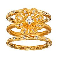 Sophie Miller Cubic Zirconia 14k Gold Over Silver Flower Ring Set