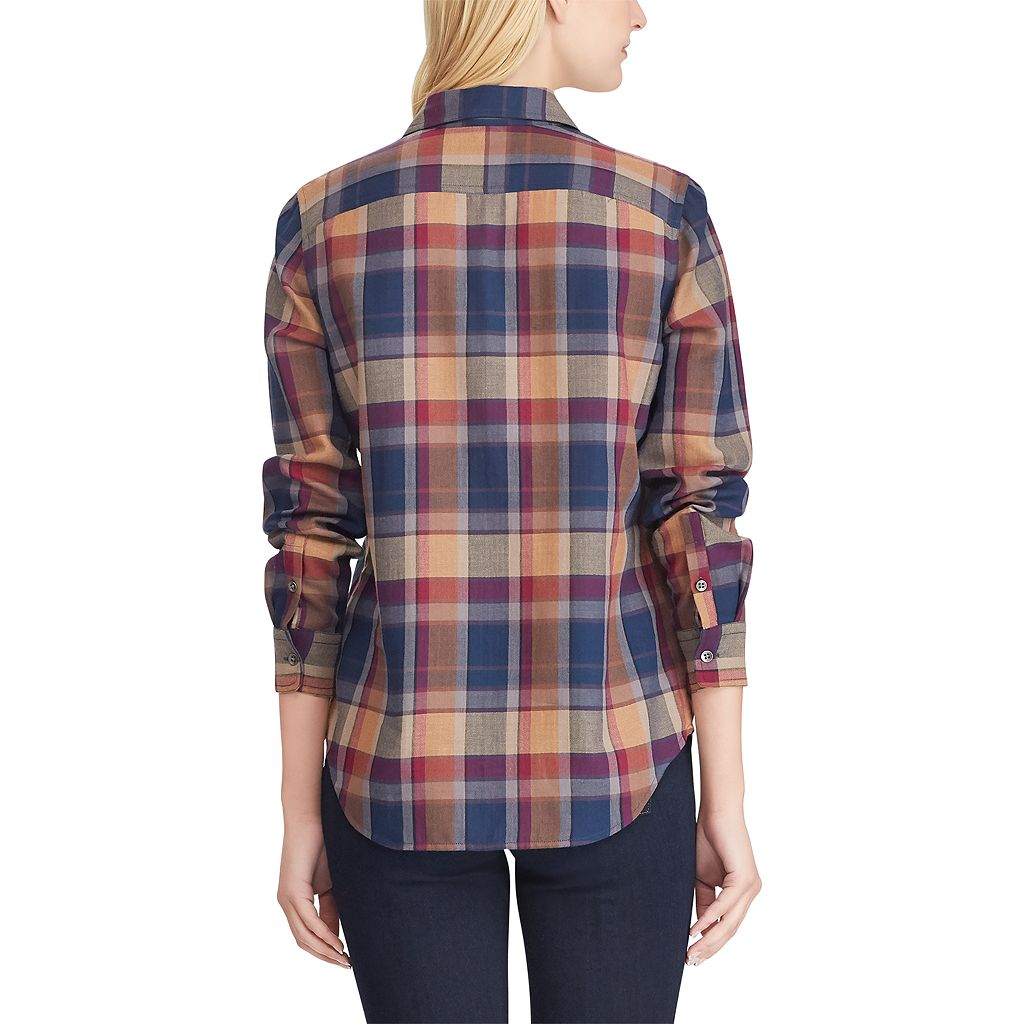 Women's Chaps Plaid Twill Button-Down Shirt