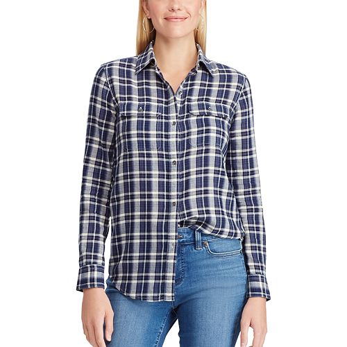 12955933e Women's Chaps Plaid Twill Button-Down Shirt