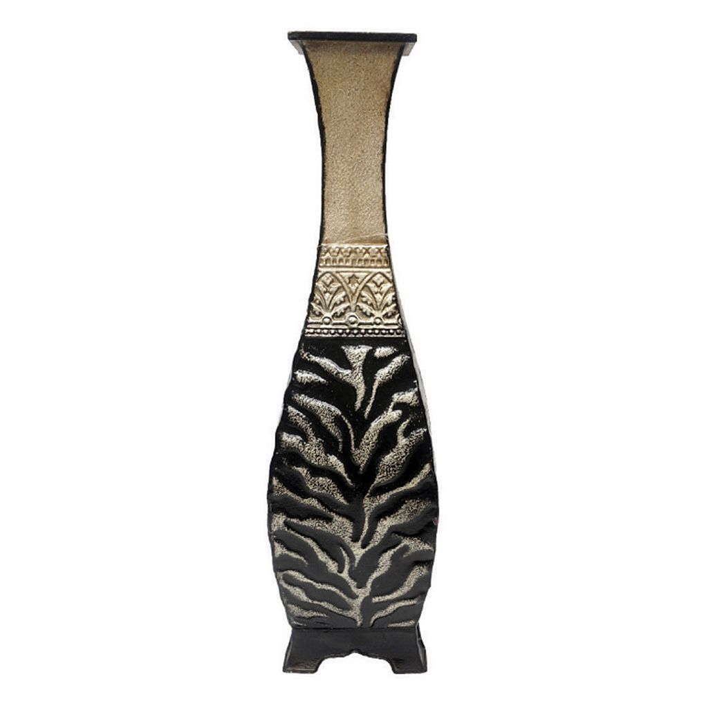 Animal Print Metal Pedestal Table Vase