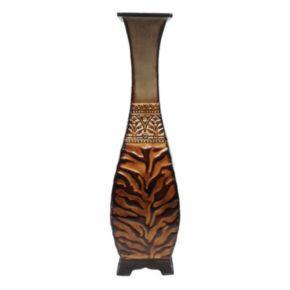 Animal Print Metal Pedestal Table Vase