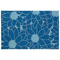 Kaleen Home & Porch Blue Flower Indoor Outdoor Rug