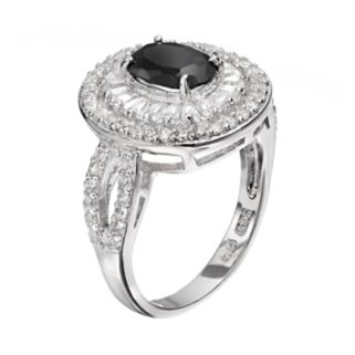 Sophie Miller Cubic Zirconia Sterling Silver Oval Ring