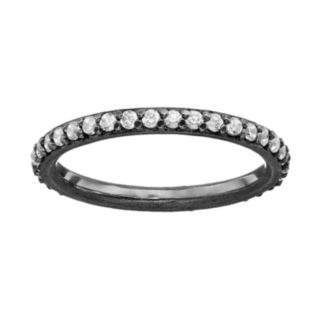 Sophie Miller Cubic Zirconia Black Rhodium-Plated Sterling Silver Eternity Ring
