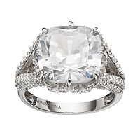 Sophie Miller Cubic Zirconia Sterling Silver Square Ring