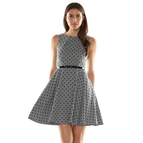 ELLE? Polka-Dot Fit & Flare Dress - Women's