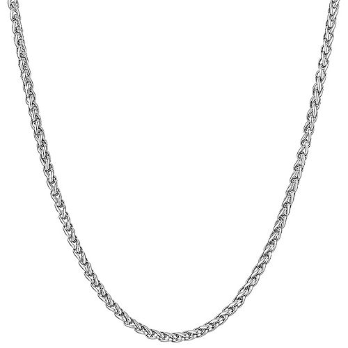 LYNX Men's Stainless Steel Wheat Chain Necklace