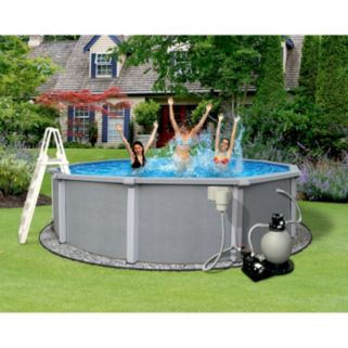 Blue Wave Zanzibar 24-ft. Round Metal Wall Swimming Pool Set