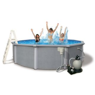 Blue Wave Zanzibar 27-ft. Round Metal Wall Swimming Pool Set