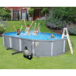 Blue Wave Zanzibar 15-ft. x 30-ft. Oval Metal Wall Swimming Pool Set